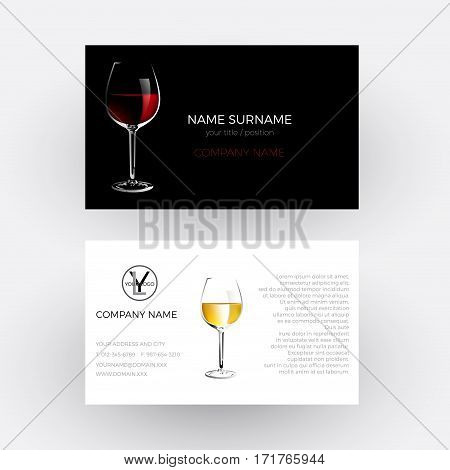 Vector abstract glass of red wine concept of vinery and wine steward; Business card