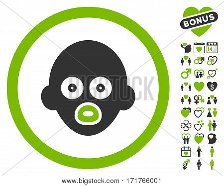 Baby Head icon with bonus valentine images. Vector illustration style is flat iconic eco green and gray symbols on white background.