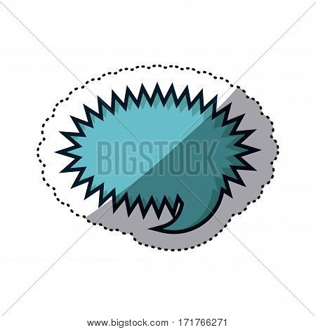 blue sticker rounded callout scream for dialogue vector illustration