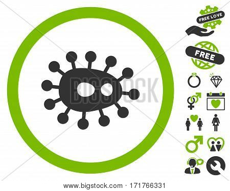 Bacilla icon with bonus decorative design elements. Vector illustration style is flat iconic eco green and gray symbols on white background.