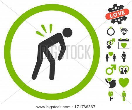 Backache icon with bonus dating symbols. Vector illustration style is flat iconic eco green and gray symbols on white background.