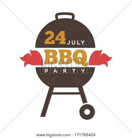 Barbecue or grill party vector icon of bbq for restaurant menu or weekend outdoor lunch or picnic