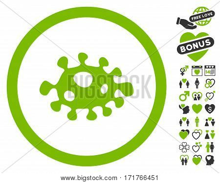 Bacteria icon with bonus passion pictograph collection. Vector illustration style is flat iconic eco green and gray symbols on white background.
