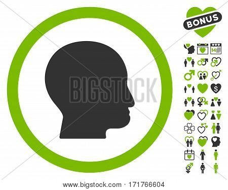 Bald Head pictograph with bonus amour pictograph collection. Vector illustration style is flat iconic eco green and gray symbols on white background.