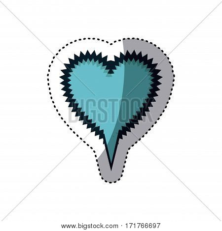 blue sticker heart shape callout scream for dialogue vector illustration