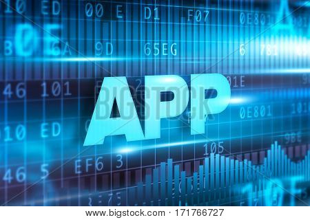 App abstract concept blue text on blue background