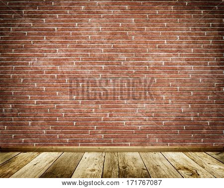 Flat brick wall with old wooden floor and plinth. Brick wall background for the design.