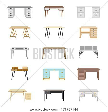 Set of fifteen desks. Furniture for home and office. Elements for work interior office space. Vector illustration