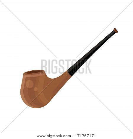 Smoking Pipe Vector Icon In Flat Design Style. Wooden Tobacco Tool Symbol.