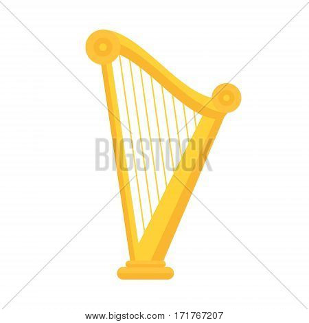 Golden Harp Icon In Flat Style Design. Musical Instrument Symbol Of Ireland. St Patrick Day Element
