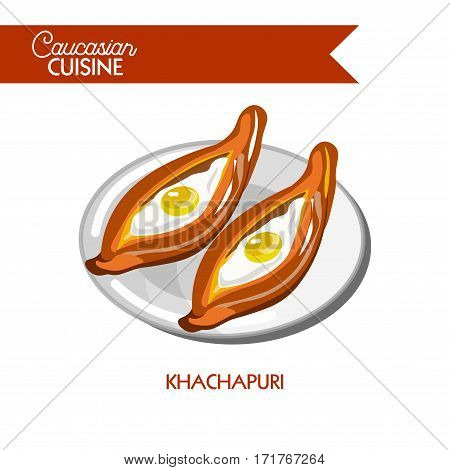 Khachapuri of Caucasian Georgian cuisine or kitchen. Vector icon sign for Georgia restaurant cafe menu. Traditional baked bread pan flatbread cake with cottage cheese and eggs