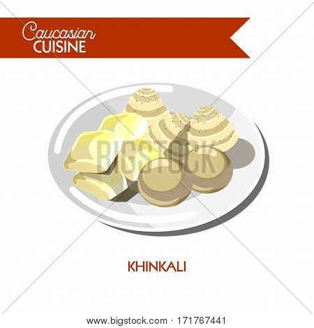 Khinkali of Caucasian Georgian cuisine or kitchen. Vector icon sign for Georgia restaurant cafe menu. Traditional steamed dough dumplings with meat and cheese filling