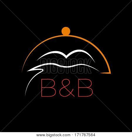 Vector sign stylized bed and cloche. Bed and Breakfast concept