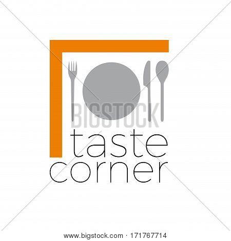 Vector sign abstract restaurant taste corner, isolated illustration