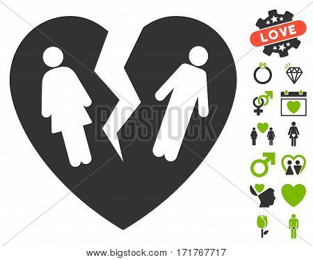 Broken Family Heart pictograph with bonus passion pictograph collection. Vector illustration style is flat iconic eco green and gray symbols on white background.