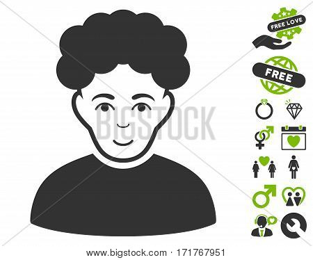 Brunet Man pictograph with bonus passion symbols. Vector illustration style is flat iconic eco green and gray symbols on white background.