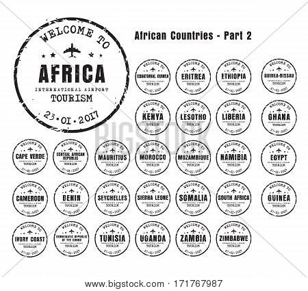Old Worn Stamps With The Name Of The African Countries