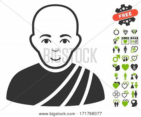 Buddhist Monk icon with bonus dating pictograms. Vector illustration style is flat iconic eco green and gray symbols on white background.
