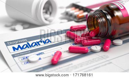 Malaria - Handwritten Diagnosis in the Disease Extract. Medicine Concept with Heap of Pills, Close View, Selective Focus. Malaria Inscription in Medical History. Close View of Medicine Concept. 3D.