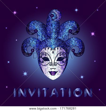 Invitation card with blue glittery calligraphic inscription .  Concept design glittery blue mask with shining stars on a square dark blue background - vector illustration.