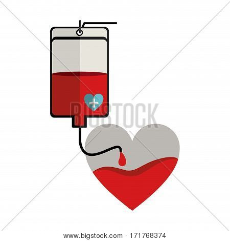 bag donate blood and heart shape vector illustration