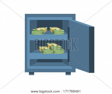 Dollar paper business finance money stack us banking edition and banknotes bills in safe wealth sign investment currency vector illustration. American loan commerce concept.