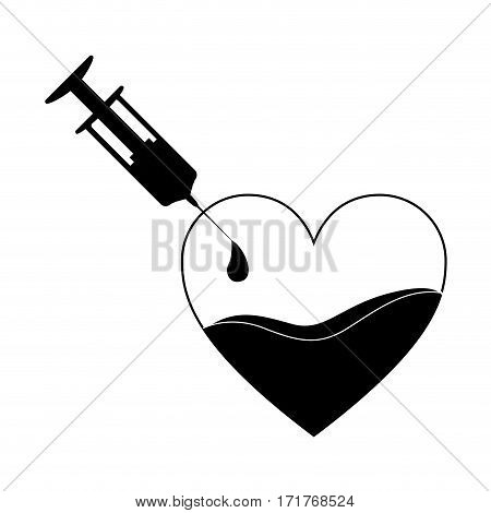 monochrome silhouette Needle syringe donate blood in heart shape vector illustration