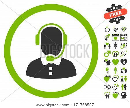 Call Center Operator icon with bonus dating images. Vector illustration style is flat iconic eco green and gray symbols on white background.