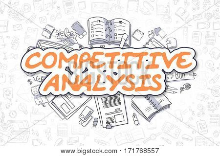 Business Illustration of Competitive Analysis. Doodle Orange Word Hand Drawn Cartoon Design Elements. Competitive Analysis Concept.