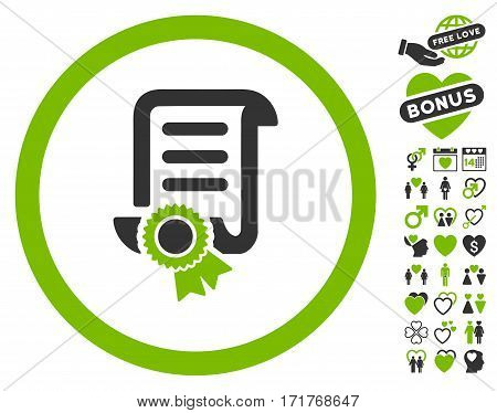 Certified Scroll Document pictograph with bonus dating pictures. Vector illustration style is flat iconic eco green and gray symbols on white background.