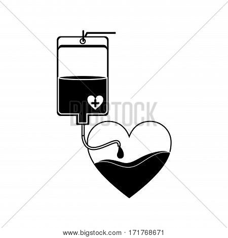 silhouette bag donate blood and heart shape vector illustration