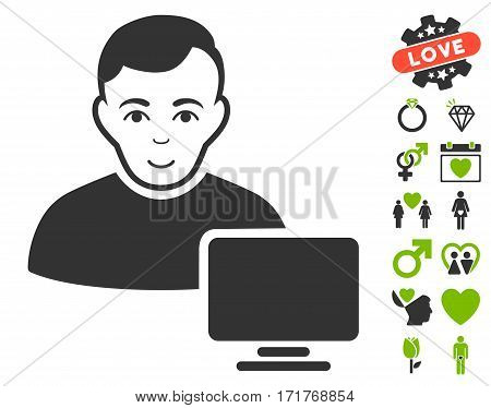 Computer Administrator pictograph with bonus decoration images. Vector illustration style is flat iconic eco green and gray symbols on white background.