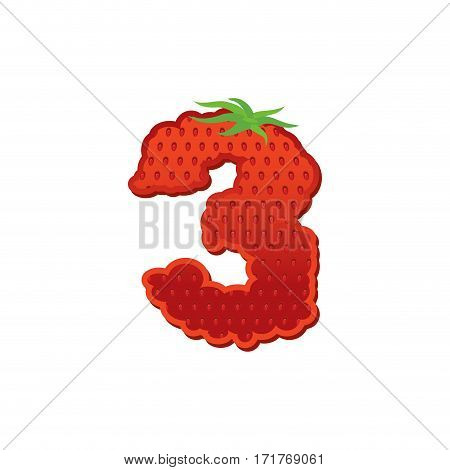 Number 3 Strawberry Font. Red Berry Lettering Three Alphabet. Fruits Abc