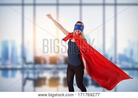 Smiling Superhero Female Raised Her Hand Up.