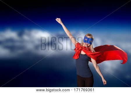 Super Hero Woman In Superwoman Costume.