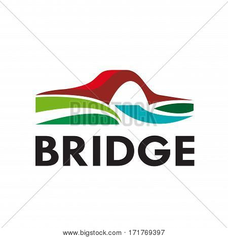 Vector abstract bridge connection concept, isolated illustration