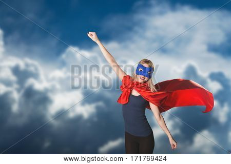 Young Woman Superhero In Superwoman Costume.