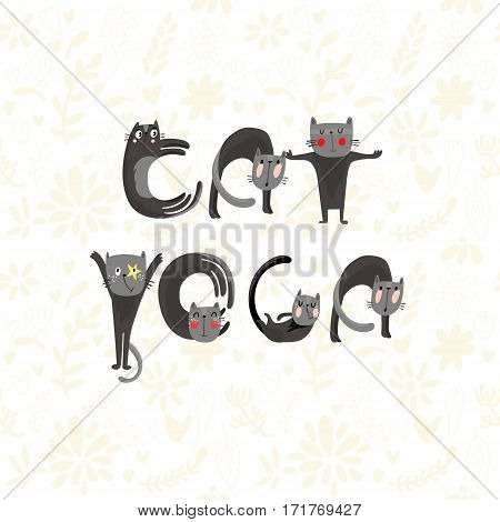Hand-sketched Typographic Element. Cat Yoga.text For T-shirt, Fashion, Prints - Stock Vector