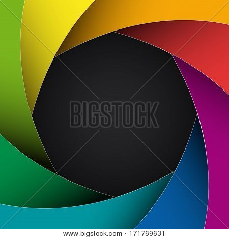 Vector rainbow diaphragm background photography concept, in black