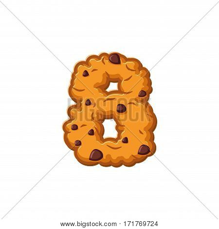 Number 8 Cookies Font. Oatmeal Biscuit Alphabet Symbol Eight. Food Sign Abc