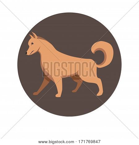 Chinese zodiac sign Dog. Symbol of Eastern Asian horoscope or lunar calendar element. Vector round icon illustration