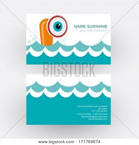 Vector abstract cheerful submarine. Business card, isolated illustration