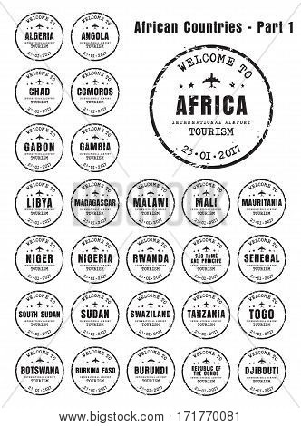 Design old worn stamps passport with the name of the African countries. Templates sign for the travel and airport. Part 1. Set