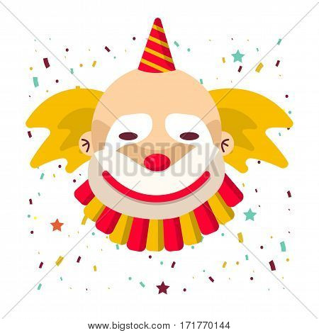 Clown face smile in wig and birthday cap. Vector isolated icon of cartoon circus funny comic man or character on confetti background
