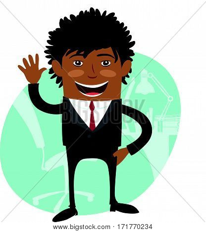 Funny Confident black business man wearing suit wave and smile. Flat style design set. Vector Illustration.