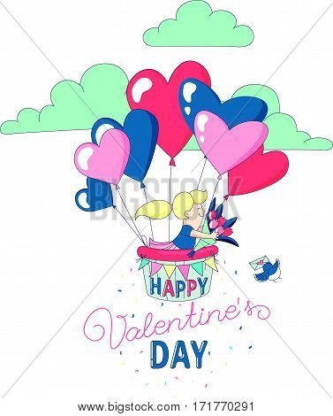 Happy Valentine's Day party greeting card invitation funny girl character flying with hot air heart balloons holding flowers. Line flat design kid's style. Vector illustration.