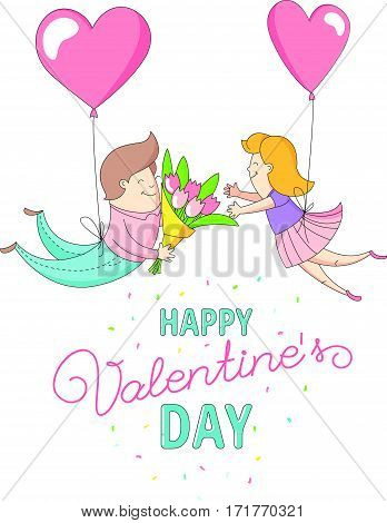 Happy Valentine's Day party greeting card invitation funny female girl and male boy characters flying into each other's arms with heart balloons. Line flat design kid's style