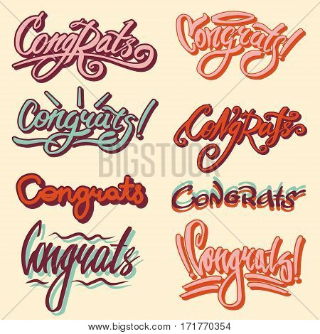 Congrats and drawn text templates. Congratulation vector writing lettering of festive font for greeting card or luck event