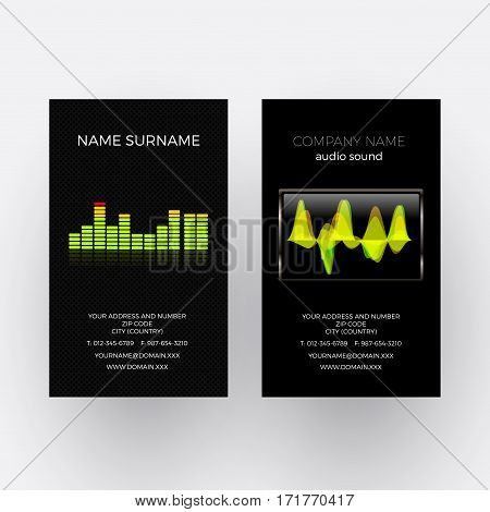 Vector abstract equalizer and oscilloscope. Music business card