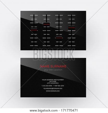 Vector abstract black mixer. Musician and singer business card